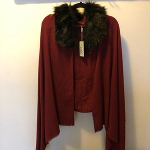 Jackets & Blazers - Garnet red cape with black faux fur collar.